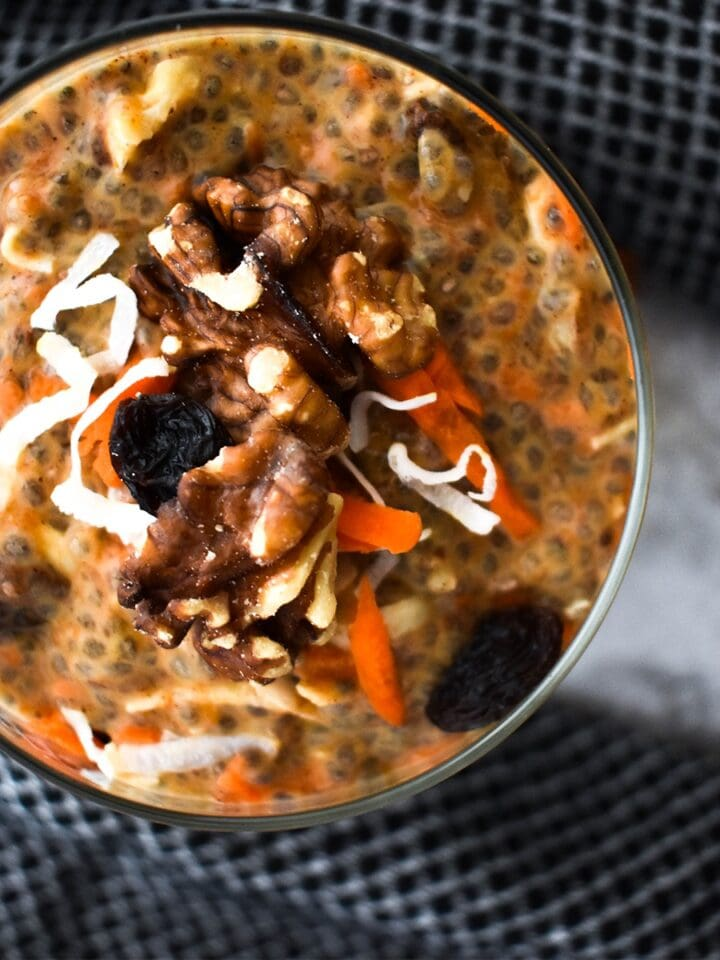 Paleo Carrot cake Chia Pudding Featured Image