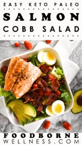 Pinterest Pin for Paleo Keto Cobb Salad with Salmon