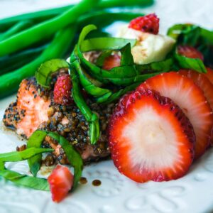 salmon with balsamic glaze, strawberry, basil and goat cheese