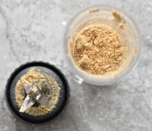 process shot of ground almonds