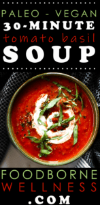 Paleo tomato basil soup pinterest pin.
