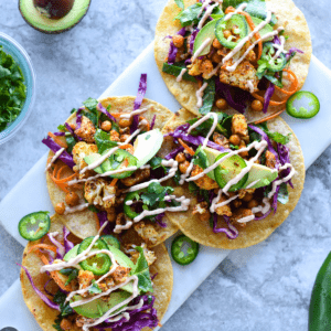 Platter of vegetarian tacos with cauliflower