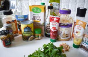 avocado oil, curry spices, sea salt, garlic, cilantro, chili paste,, bone broth coconut milk