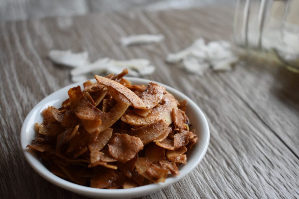Toasted Paleo Pumpkin Spice Coconut Chips