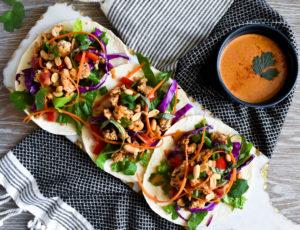 thai tacos with peanut sauce
