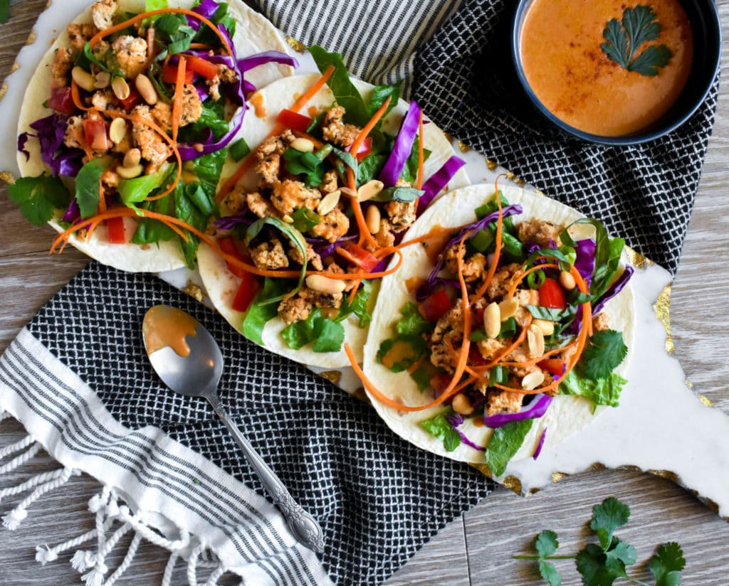 thai tacos with peanut sauce