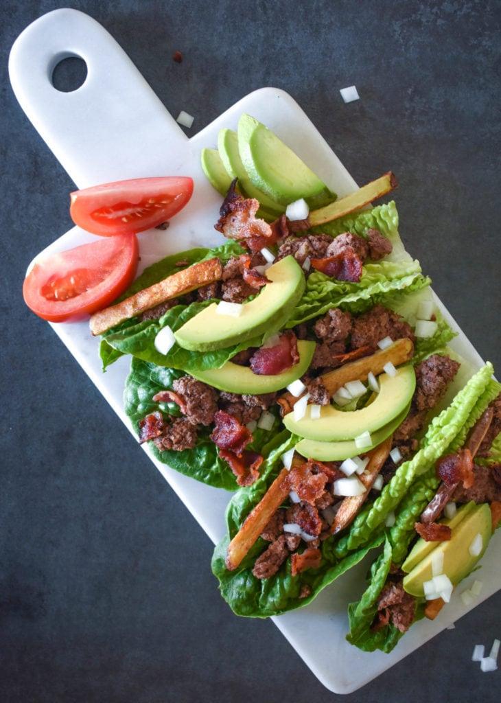 avocado bacon burger and fried lettuce wrap
