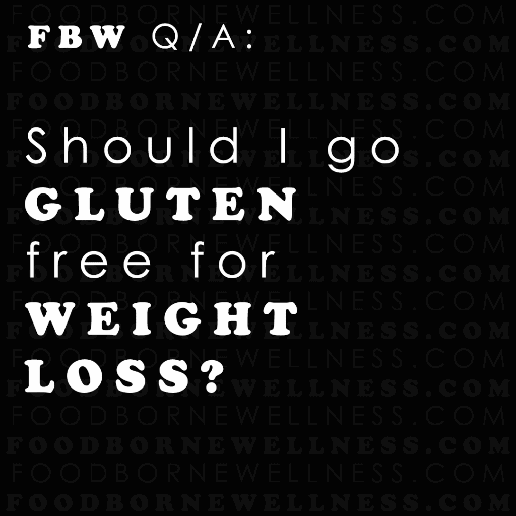 "Black sign reading ""should I go gluten free for weight loss?"""