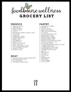 grocery list for 5 day free meal plan