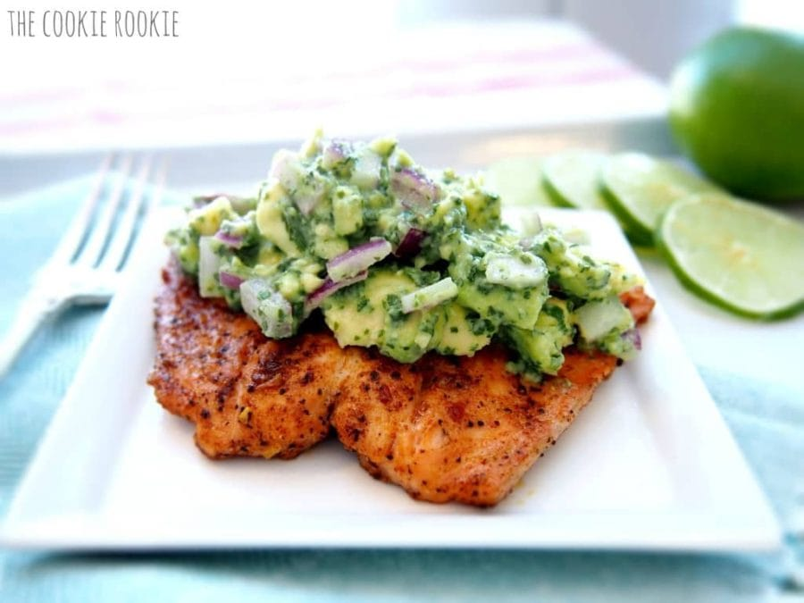 Salmon topped with guacamole