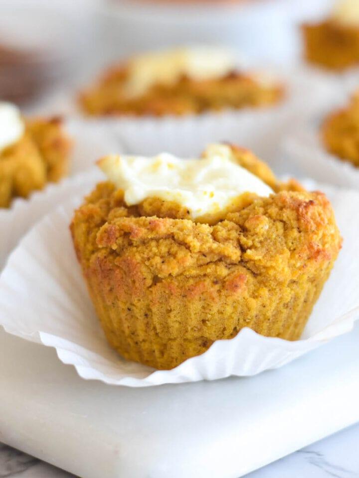 Keto Pumpkin Muffins Cream Cheese Featured Image