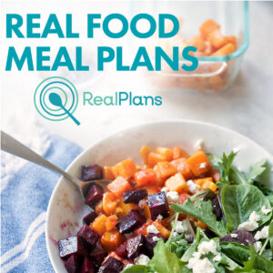 Real Plans Banner with bowl of salad and butternut squash.