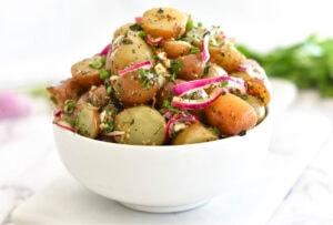 No mayo potato salad in a bowl