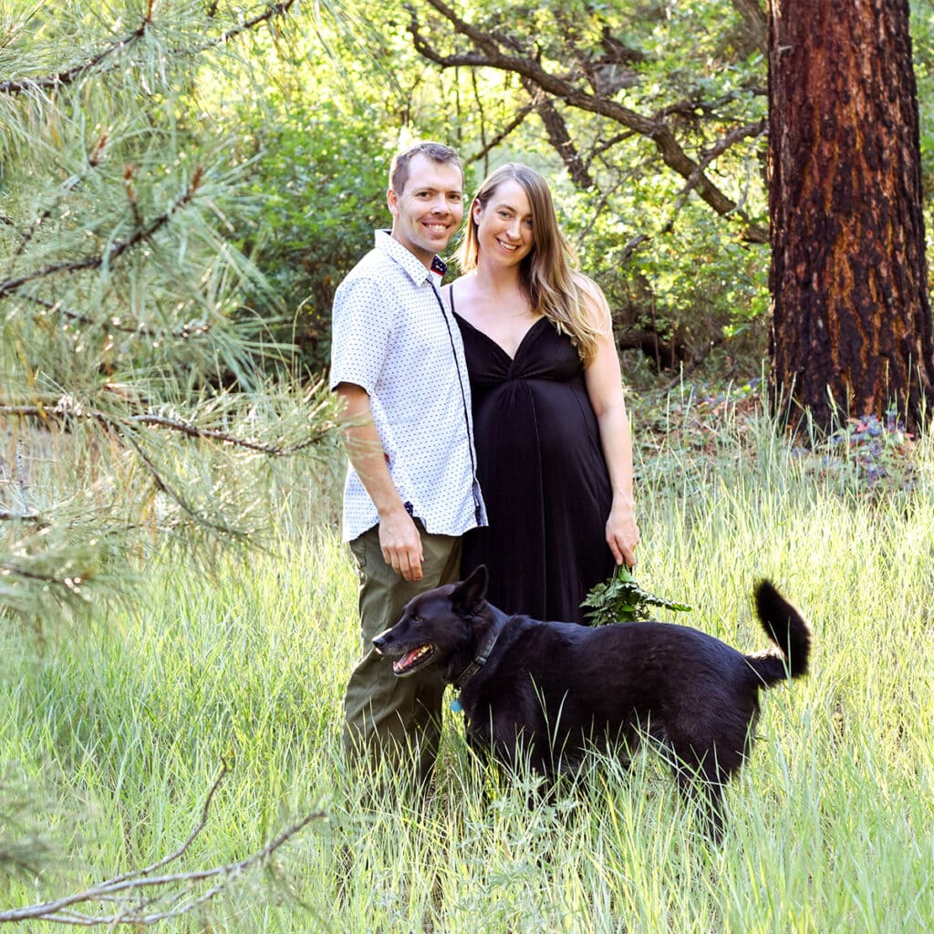 amanda, her husband and her dog in colorado