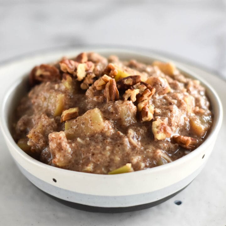 Close up image of paleo apple pie oatmeal.