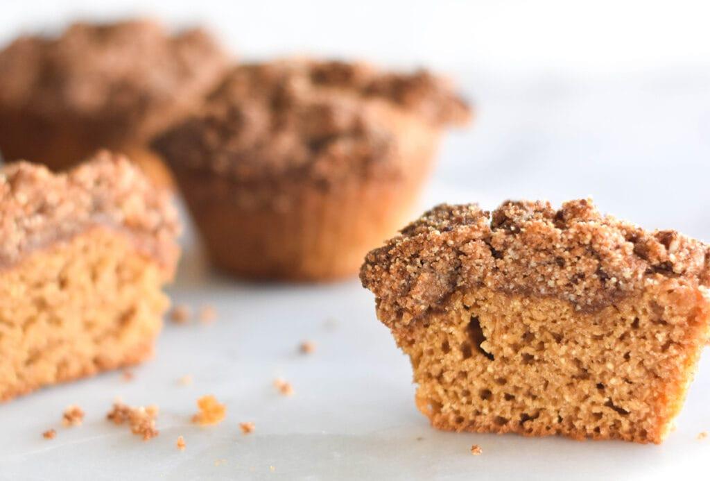 Paleo Coffee Cake Muffin cut in half.