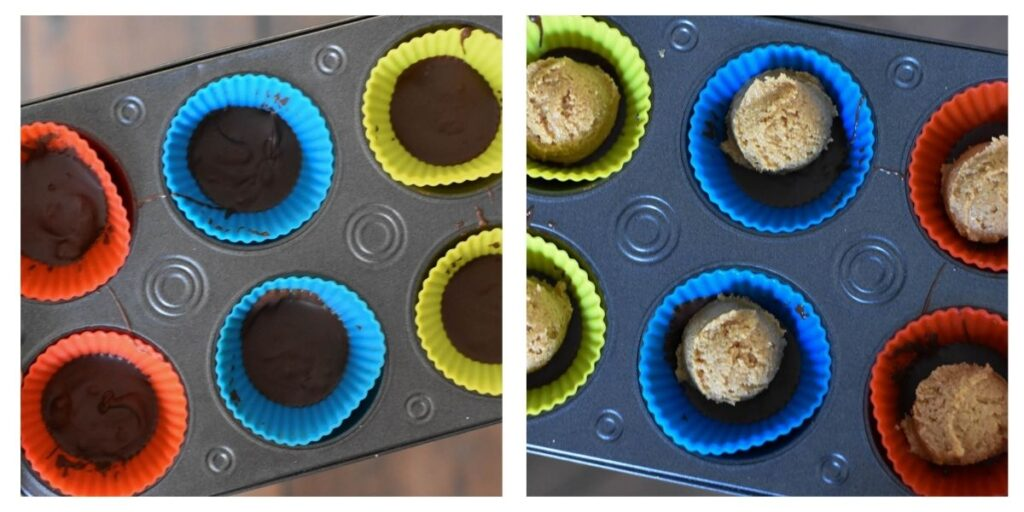 Muffin tin lined with silicone muffin liners filled with a layer of chocolate and peanut butter.