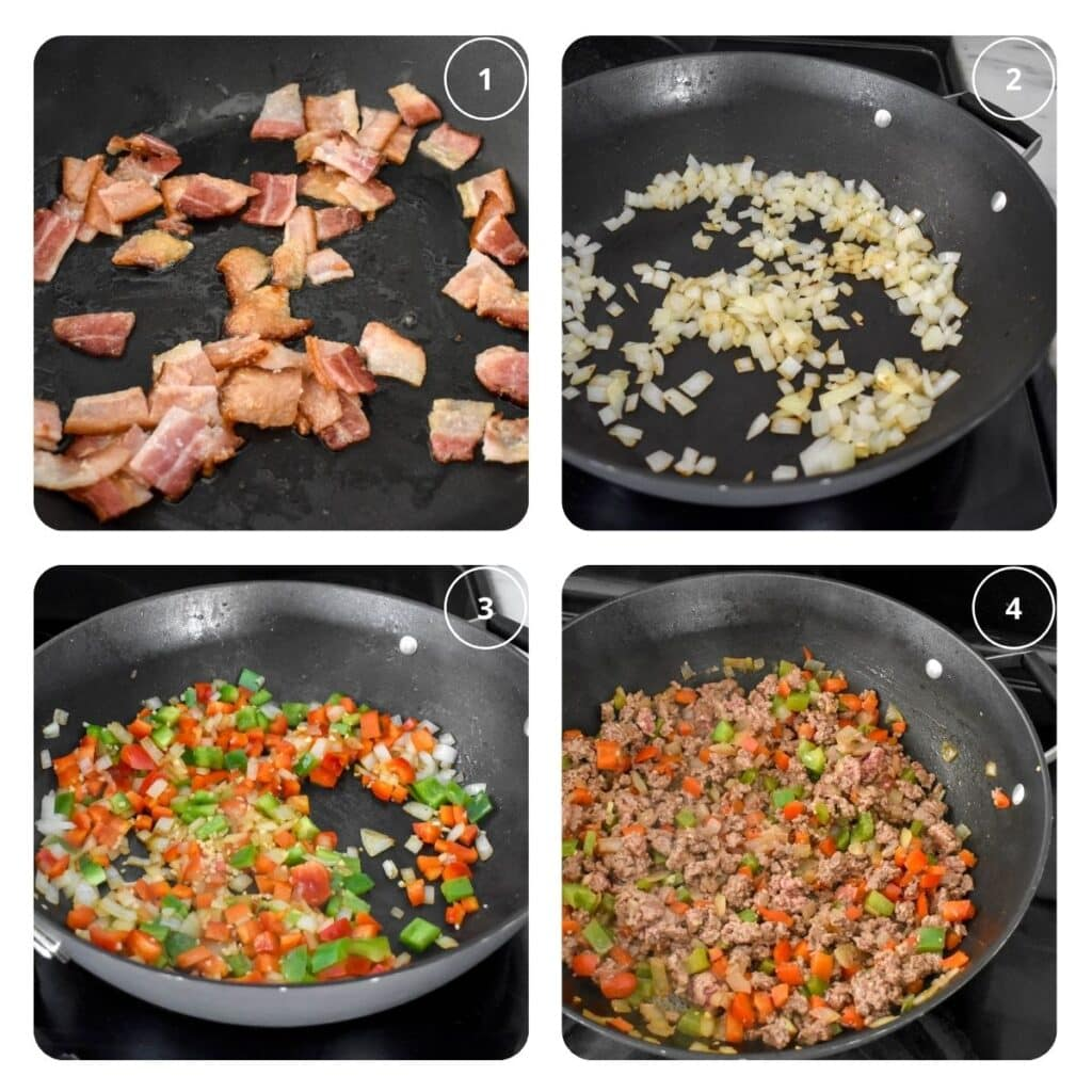 Process shots showing how to fry bacon, sauté onions, cook veggies and beef to make paleo sloppy joes.