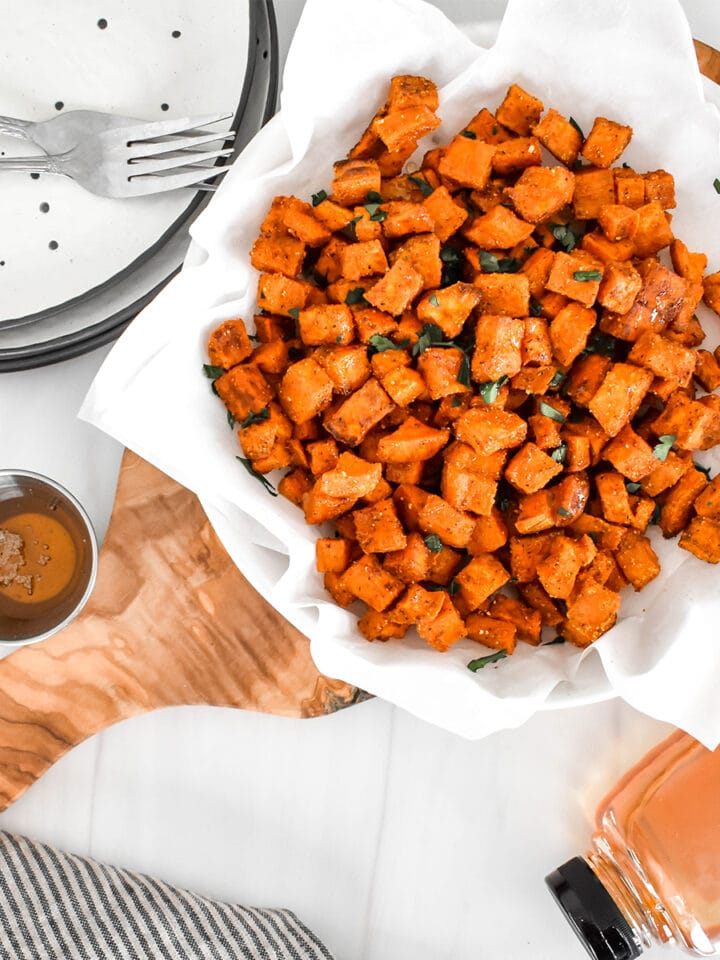 Top down view of chiptole honey roasted sweet potatoes.