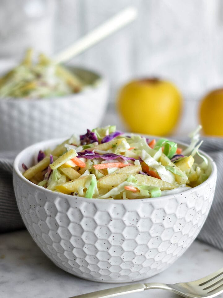 Bowl of brightly colored Whole30 coleslaw with cabbage.