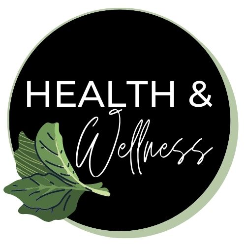 """Image with lettuce leaves that says """"health and wellness""""."""