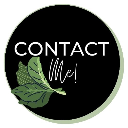 """Image with lettuce leaves that says """"contact me""""."""