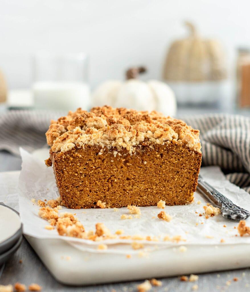 Moist loaf of pumpkin streusel bread.