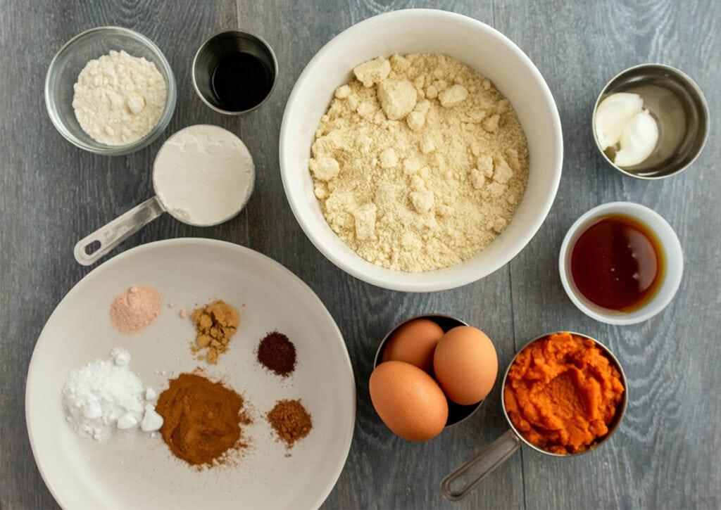 Photo of ingredients for paleo pumpkin streusel bread.