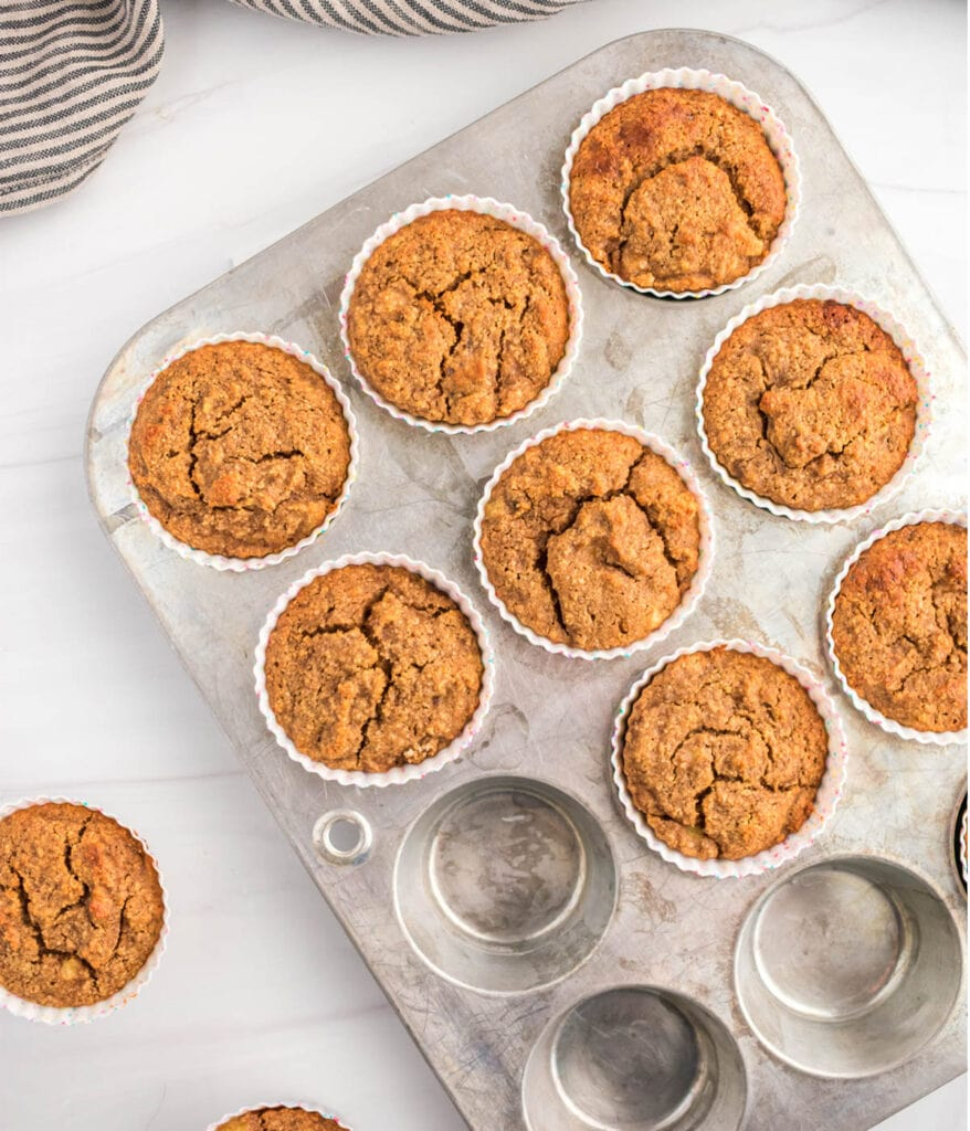 Almond flour banana muffins baked in tin.