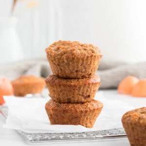 Stack of almond flour banana muffins.