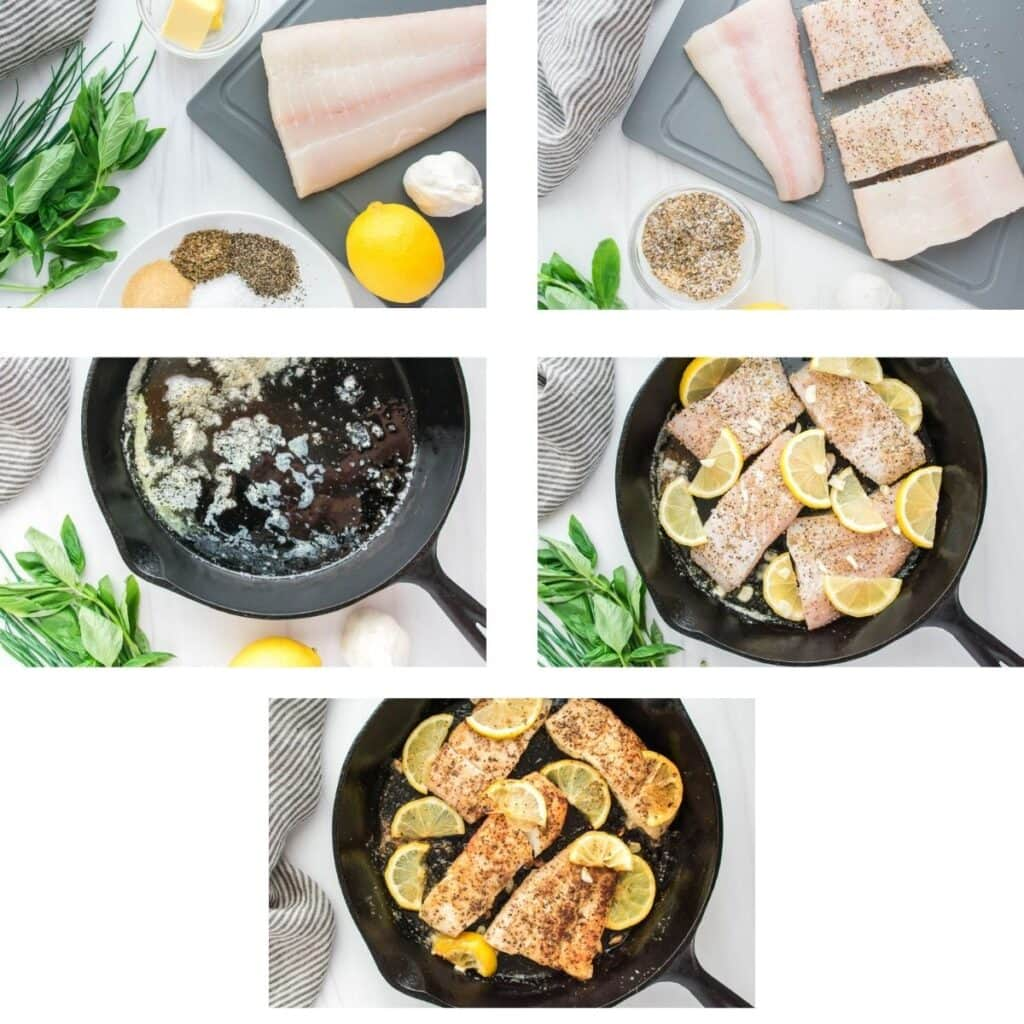 Process shots to demonstrate how to prepare pan seared halibut.