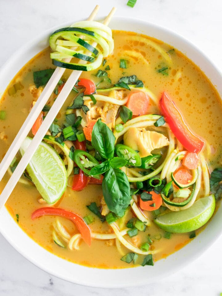 Thai-inspired Curry Chicken Zoodle Soup (Keto, Paleo)