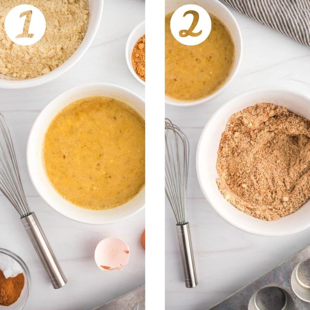 Process shots for almond flour banana muffins.