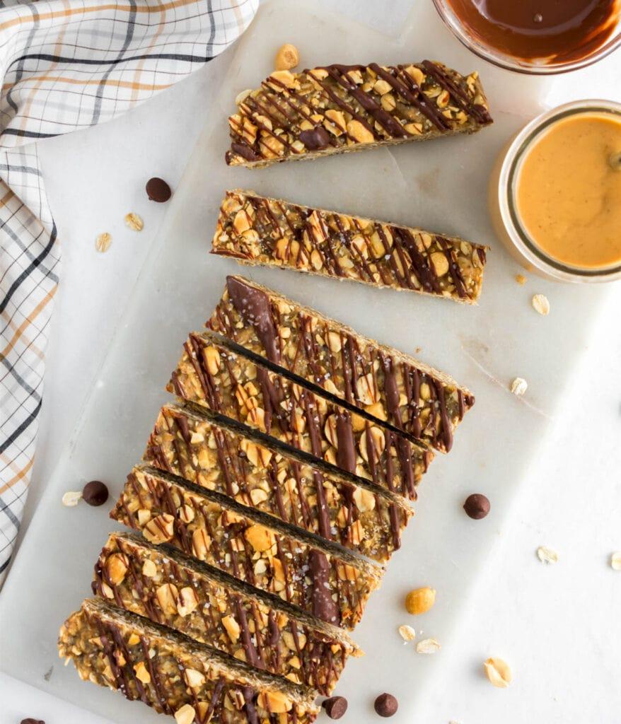 Healthy No Bake Granola Bars sliced in to 8 pieces.