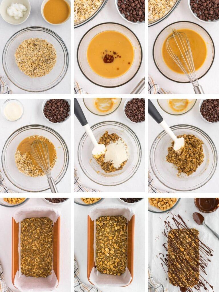 Healthy No Bake Granola Bars photos demonstrating process.